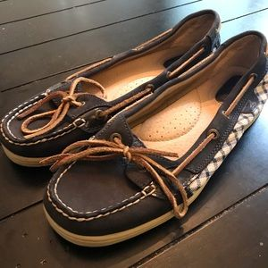 Sperry Topsiders Boat Shoes Navy Blue / Plaid 9M